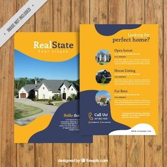 Gele vastgoed met abstracte vormen flyer
