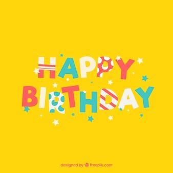 Gele verjaardag achtergrond met gekleurde sterren