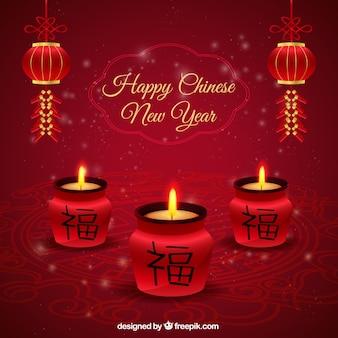 Gelukkig Chinees Nieuwjaar kaarsen achtergrond