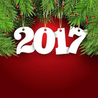 Gelukkig Nieuwjaar achtergrond met dennenboom takken bessen en opknoping nummers