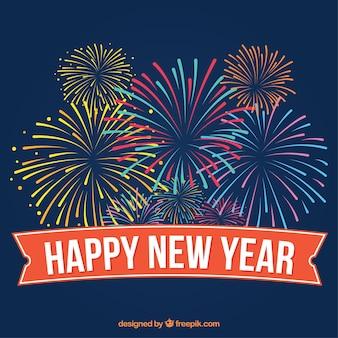 Gelukkig Nieuwjaar gekleurd vuurwerk achtergrond in vintage stijl
