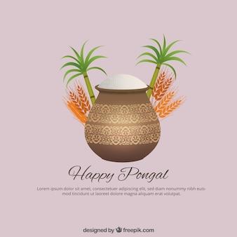 Gelukkig Pongal op een roze achtergrond