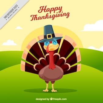 Gelukkig thanksgiving day met een lachend kalkoen