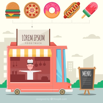 Gelukkige chef-kok in zijn food truck met fastfood