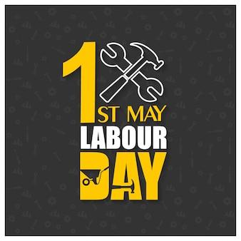 Gelukkige Dag van de Arbeid met Hamer en moersleutel op een zwarte achtergrond
