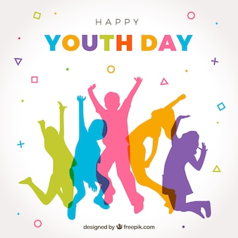 Gelukkige jeugddag achtergrond met kleurrijke silhouetten