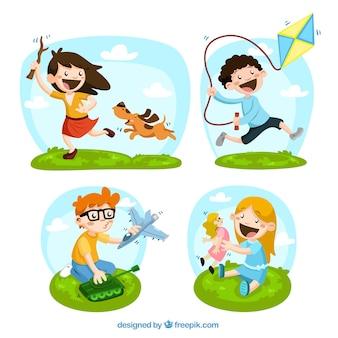 Gelukkige kinderen met speelgoed