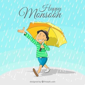 Gelukkige moessonachtergrond van jongen met hand getrokken paraplu