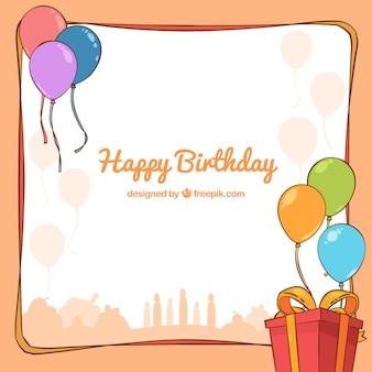 Gelukkige verjaardag achtergrond met cadeau en hand getekende ballonnen