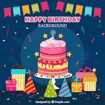 Gelukkige verjaardag achtergrond met geschenken en decoratie