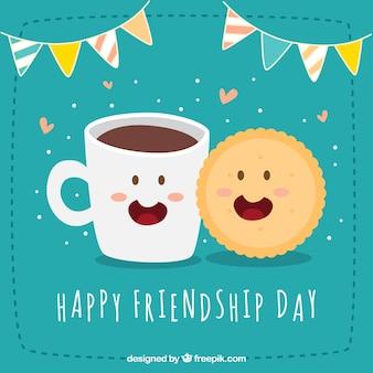 Gelukkige vriendschap dag achtergrond met koekje en koffie