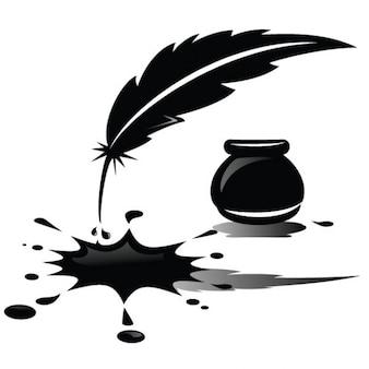 Gemorste inkt en veren illustratie