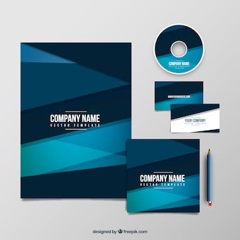 Geometrie bedrijf blauw sjabloon pak