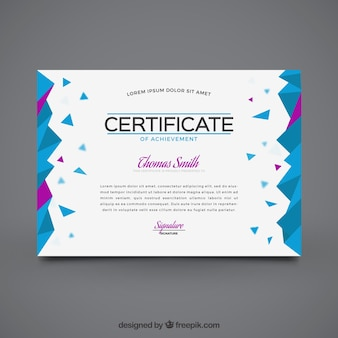 Geometrische afstuderen certificaat met paarse gegevens