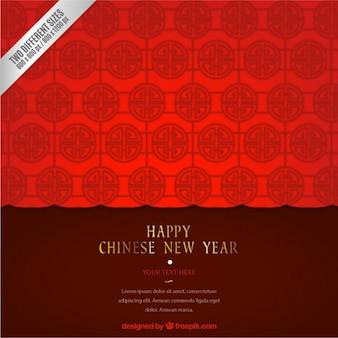 Geometrische Chinese nieuwe jaar achtergrond in rode tinten