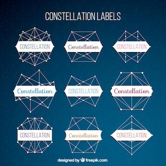 Geometrische labels met sterrenbeelden