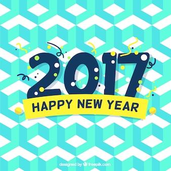 Geometrische nieuw jaar achtergrond in blauwe tinten