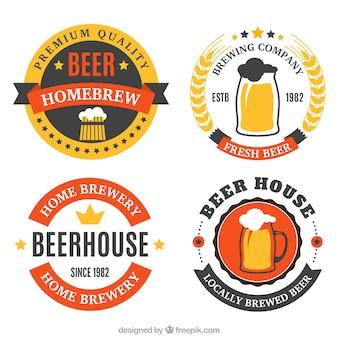 Geometrische stickers voor een brouwerij met rode details