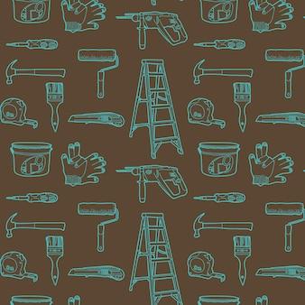 Gereedschappen voor huis reparatie. Naadloos patroon