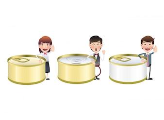 Gesloten tin cartoon nutrient ingeblikt