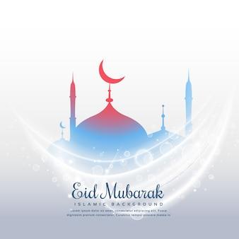 Geweldige eid festival achtergrond met moskee en licht effect