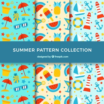 Geweldige patronen met gekleurde zomerartikelen