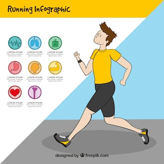 Gezondheid graphics en de lopende jongen