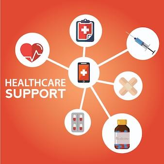 Gezondheidszorg pictogrammen met smartphone