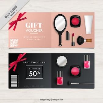 Gift coupons van cosmetische producten