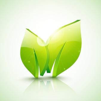 Glanzende 3D groene bladeren voor Ecologie of Natuur concept.