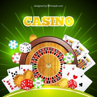 Glanzende casino achtergrond met roulette en kaarten