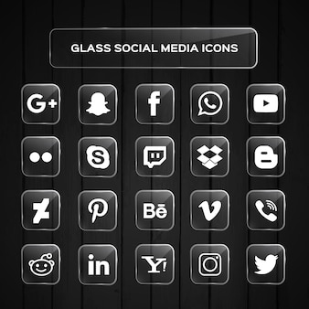 Glas sociale media pictogrammen