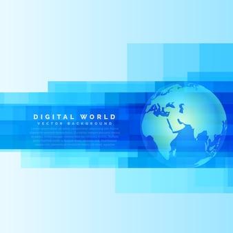 Globe aarde kaart op abstracte digitale blauwe achtergrond