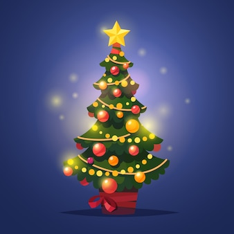 Gloeiende gedecoreerde winter kerstboom met ster