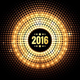Golden gestippelde nieuwe jaar 2016 kaart