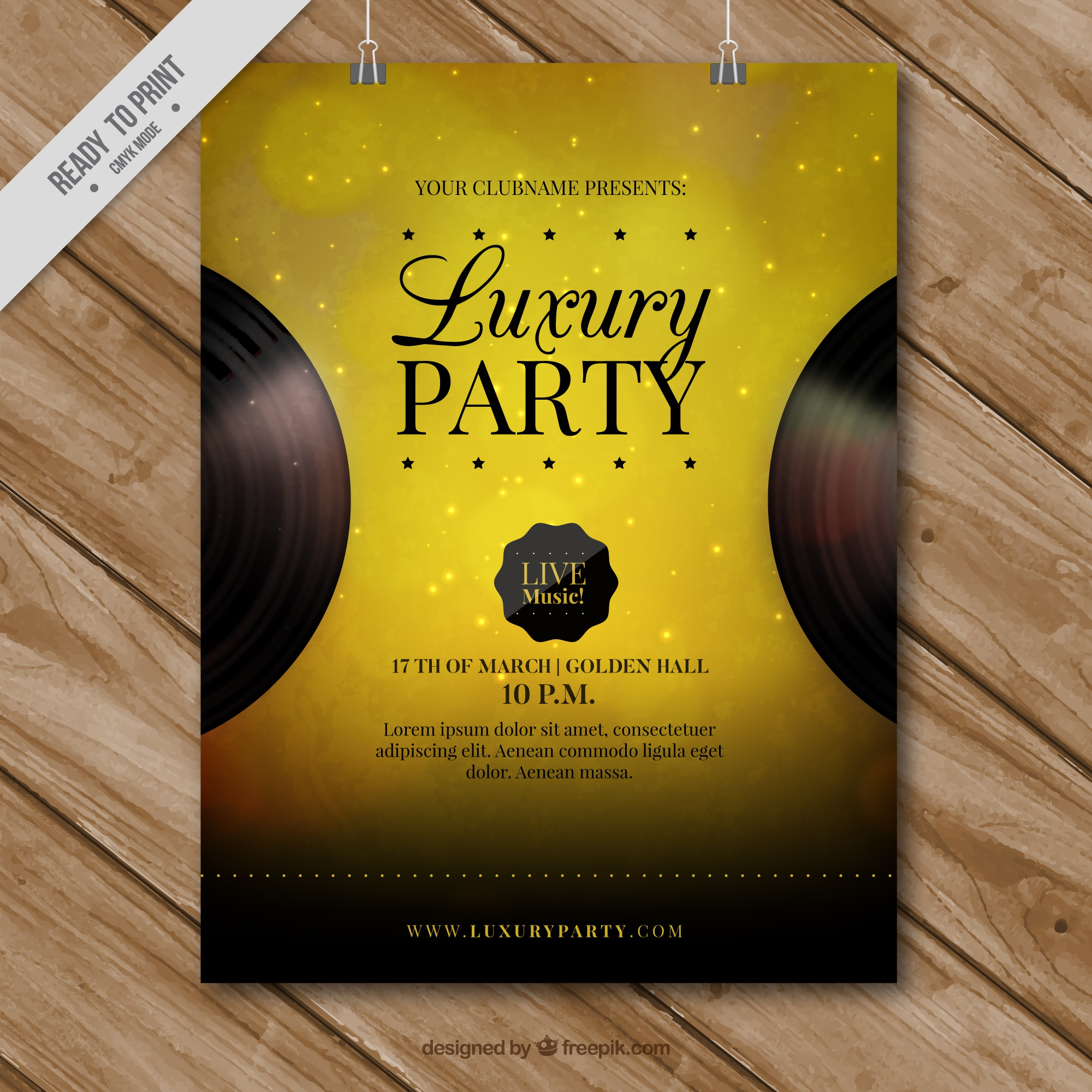 Golden party poster