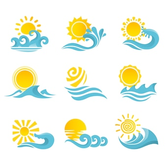 Golven stromend water zee oceaan pictogrammen instellen met zon geïsoleerde vector illustratie