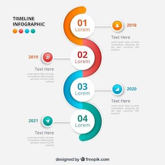 Golvend infografisch tijdlijnontwerp