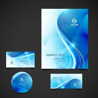 Golvende blauw briefpapier
