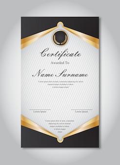 Goud en zwart certificaat sjabloon