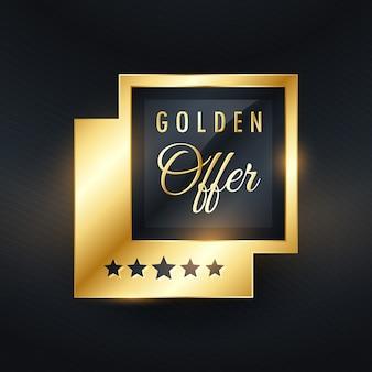 Gouden aanbod label en badge ontwerp vector