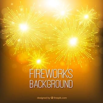 Gouden achtergrond met vuurwerk
