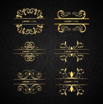Gouden decoratieve elementen ingesteld