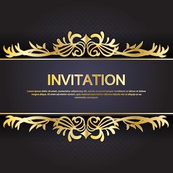 Gouden en zwarte uitnodigingssjabloon