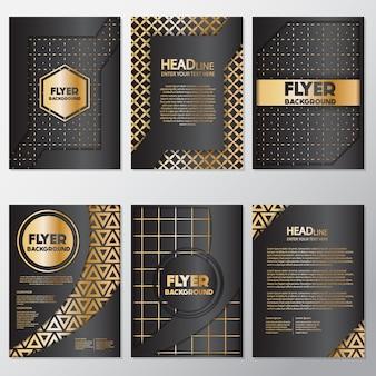 Gouden geometrische flyers ontwerp