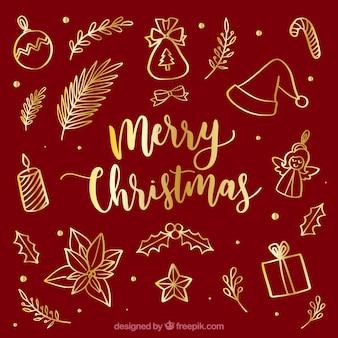 Gouden kerst elementen
