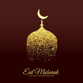 Gouden moskee maken met glitter voor eid festival
