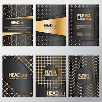 Gouden stippen flyers ontwerp