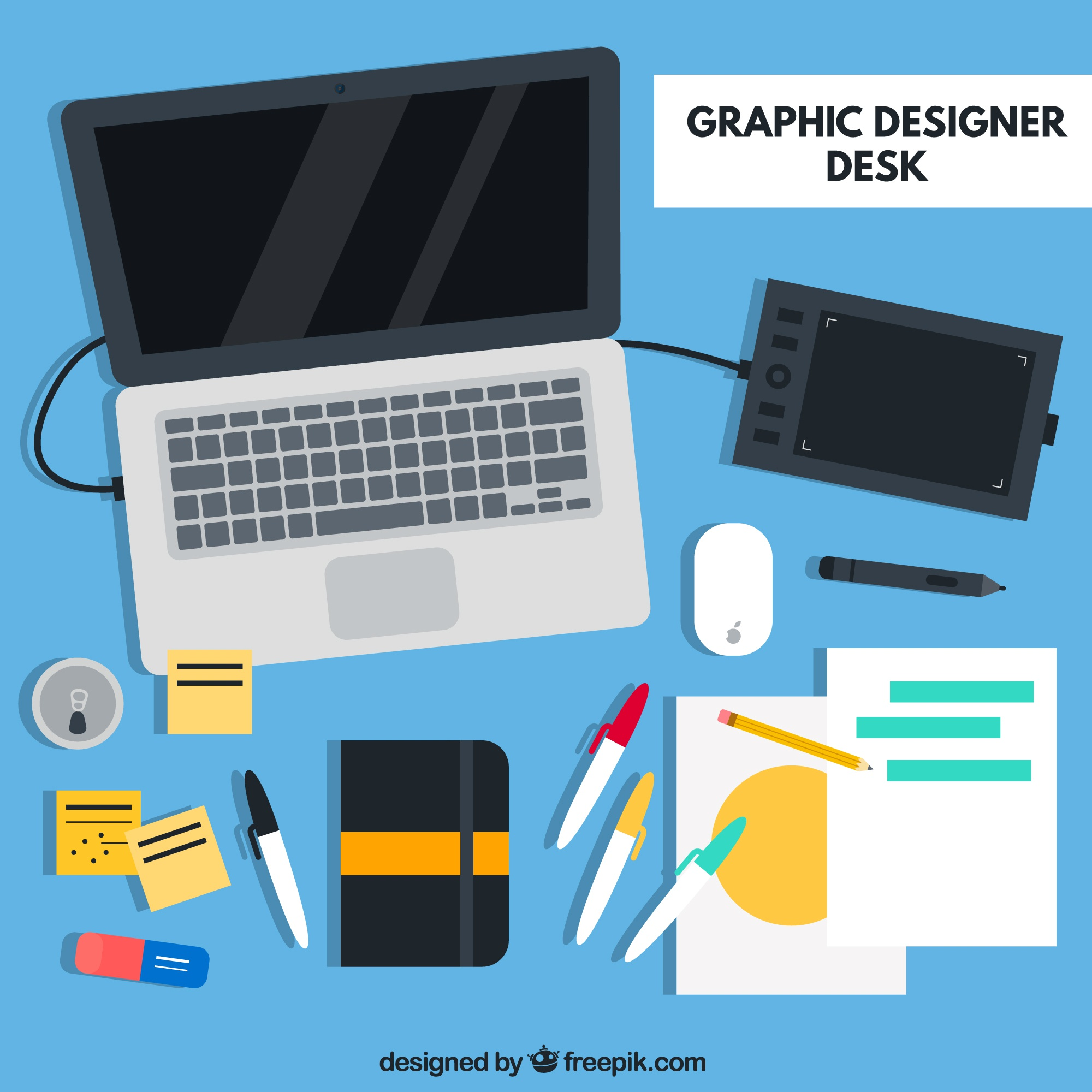 Graphic Designer Desk Flat Elements
