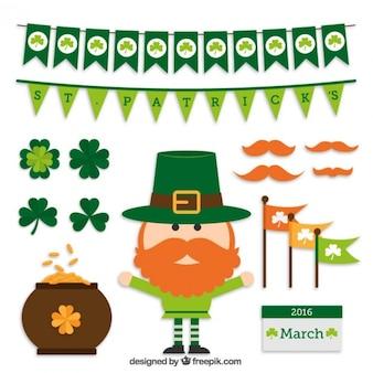 Grappig elf met Saint Patrick elementen set